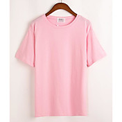Mujer Simple Casual/Diario Primavera Verano Camiseta,Escote Redondo Un Color Manga Corta Algodón Fino