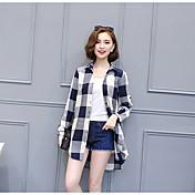 Mujer Simple Casual/Diario Camisa,Escote Cuadrado Cuadrícula Manga Larga Algodón Poliéster