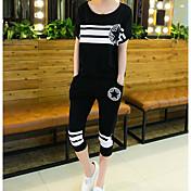 レディース スポーツ 夏 Tシャツ(21) パンツ スーツ,ストリートファッション ラウンドネック ゼブラプリント ストライプ 半袖