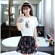 レディース カジュアル/普段着 夏 Tシャツ(21) スカート スーツ,シンプル ラウンドネック プリント 半袖 マイクロエラスティック