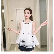 Mujer Simple Noche Casual/Diario Verano Camiseta,Escote Redondo Un Color Estampado Animal Sin Mangas Acrílico Fino