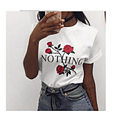 Kortærmet Rund hals Damer Ensfarvet Simpel T-shirt,Bomuld