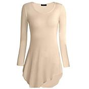 レディース カジュアル/普段着 Tシャツ,シンプル ラウンドネック ソリッド コットン 長袖