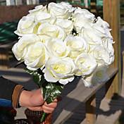 1 ブランチ プラスチック バラ テーブルトップフラワー 人工花