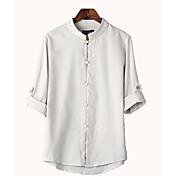 Hombre Simple Casual/Diario Camisa,Escote Chino Un Color Lino Fino
