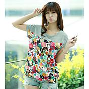 Mujer Simple Casual/Diario Camiseta,Escote Redondo Estampado Bloques Manga Corta Algodón