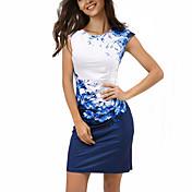 レディース ボヘミアン シース ドレス,フラワー カラーブロック ラウンドネック 膝上 半袖 ポリエステル スパンデックス 夏 ミッドライズ マイクロエラスティック 薄手