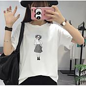 Mujer Chic de Calle Noche Camiseta,Escote Redondo Estampado Manga Corta Algodón