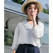 Mujer Simple Bonito Casual/Diario Primavera Verano Camisa,Escote en Pico Estampado 1/2 Manga Algodón Fino