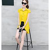 レディース 日常 カジュアル 夏 Tシャツ(21) パンツ スーツ,カジュアル スタンド ソリッド 半袖 非弾性