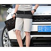 Hombre Sencillo Alta cintura Inelástica Shorts Pantalones,Delgado Un Color