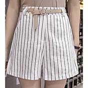 レディース ストリートファッション ミッドライズ リラックス マイクロエラスティック ワイドレッグ ショーツ パンツ ストライプ カラーブロック