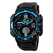 SKMEI Hombre Reloj Deportivo Reloj digital Digital Calendario Resistente al Agua Dos Husos Horarios alarma PU Banda Cool Negro
