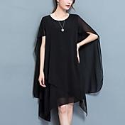 レディース ストリートファッション プラスサイズ シフォン ドレス,ソリッド ラウンドネック アシメントリー ノースリーブ ポリエステル 夏 ミッドライズ マイクロエラスティック ミディアム