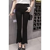Mujer Sencillo Tiro Medio strenchy Ajustado a la Bota Pantalones,Ajustado a la Bota Un Color