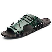 Hombre Zapatillas y flip-flop Confort Suelas con luz PU Verano Casual Confort Suelas con luz Con Cordón Tacón PlanoBlanco Verde Azul