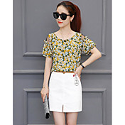 Mujer Simple Casual/Diario Verano T-Shirt Falda Trajes,Escote Redondo Floral Estampado Manga Corta