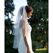 Véus de Noiva Duas Camadas Véu Cotovelo Corte da borda Chiffon