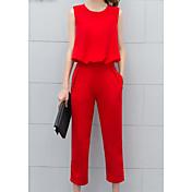 Mujer Casual Diario Casual Verano T-Shirt Pantalón Trajes,Escote Redondo Un Color Sin Mangas Microelástico