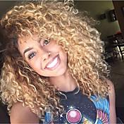 613 blonde kinky krøllede brasilianske menneskelige jomfruhårparykker limløse blonder foran parykker med babyhår til sorte kvinder