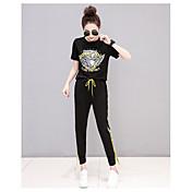 Mujer Empapa Diario Verano T-Shirt Pantalón Trajes,Escote Redondo Un Color Manga Corta