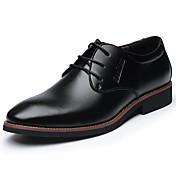 Pánské Oxfordské Pohodlné Společenské boty Kůže Jaro Léto Podzim Zima Ležérní Pohodlné Společenské boty Šněrování Plochá podrážkaČerná