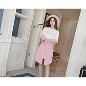 Mujer Simple Casual Verano T-Shirt Falda Trajes,Escote Redondo Letra Manga Corta Microelástico