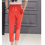 Mujer Sencillo Boho Alta cintura Microelástico Corte Ancho Pantalones,Holgado Corte Ancho Un Color Con Texturas Color puro