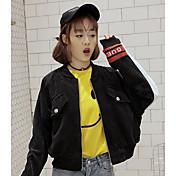 レディース お出かけ カジュアル/普段着 春 ジャケット,甘い かわいい ラウンドネック ソリッド ショート コットン 長袖