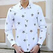 メンズ カジュアル/普段着 シャツ,シンプル シャツカラー プリント コットン その他 長袖