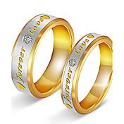 カップル用 カップルリング キュービックジルコニア 愛らしいです Elegant キュービックジルコニア チタン鋼 ゴールドメッキ 円形 ジュエリー 用途 結婚式 パーティー 婚約 日常 式典