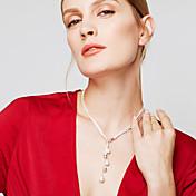女性用 チェーンネックレス Y-ネックレス Y字型 ボール型 純銀製 ファッション ロング丈 あり シルバー ジュエリー のために パーティー Halloween 日常 カジュアル 1個