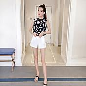 Mujer Simple Casual Verano Blusa Falda Trajes,Escote Redondo Floral Sin Mangas Microelástico