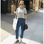 Mujer Sencillo Alta cintura strenchy Culotte Pantalones,Corte Recto Un Color