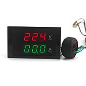 デジタルデュアルディスプレイのAC電圧計、電流計(100〜300V / 0〜100A)