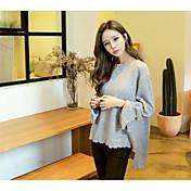 Mujer Regular Pullover Noche Casual/Diario Trabajo Sofisticado,Un Color Escote Redondo Manga Larga Piel Sintética Otoño Medio