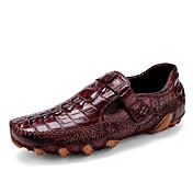 Hombre Zapatos de taco bajo y Slip-Ons Zapatos formales Cuero Primavera Otoño Casual Fiesta y Noche Zapatos formales Negro Borgoña Plano