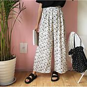 Mujer Sencillo Alta cintura Microelástico Chinos Pantalones,Holgado Estampado