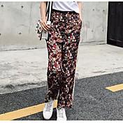 レディース ストリートファッション ミッドライズ リラックス マイクロエラスティック ワイドレッグ パンツ フラワー カラーブロック