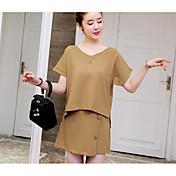 Mujer Casual Diario Casual Verano T-Shirt Falda Trajes,Escote en Pico Un Color Manga Corta Microelástico