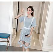 Mujer Casual Diario Casual Verano T-Shirt Vestidos Trajes,Escote Redondo Un Color Encaje Manga Corta Microelástico