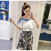 Mujer Casual Diario Casual Verano T-Shirt Falda Trajes,Escote Barco Un Color Floral Manga 1/2 Inelástica