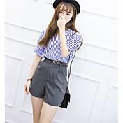 Mujer A Rayas Casual Casual/Diario Verano T-Shirt Pantalón Trajes,Escote en Pico A Rayas Manga Corta Microelástico