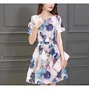 Mujer Línea A Vestido Noche Casual/Diario Simple Bonito,Floral Escote Redondo Sobre la rodilla Manga Corta Seda Verano Tiro Medio