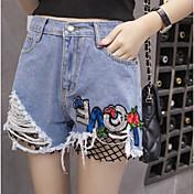 Mujer Sencillo Media cintura Microelástico Vaqueros Shorts Pantalones,Holgado Un Color