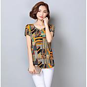 Mujer Simple Casual/Diario Camiseta,Escote Redondo Bloques Manga Corta Poliéster