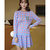 Mujer Bonito Noche Primavera Verano T-Shirt Falda Trajes,Escote Redondo A Rayas Manga Larga