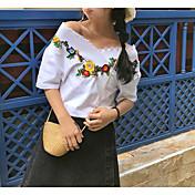 レディース お出かけ ワーク 夏 Tシャツ,ヴィンテージ Vネック ソリッド 刺繍 コットン 半袖 薄手