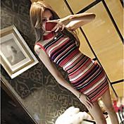 Mujer Vaina Vestido Noche Casual/Diario A Rayas Escote Redondo Sobre la rodilla Sin Mangas Poliéster Verano Tiro Medio Microelástico Fino