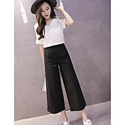 Mujer Simple Casual/Diario Verano T-Shirt Pantalón Trajes,Escote en Pico Un Color Manga Corta
